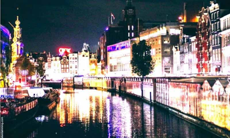 Amsterdam City Lights And Flower Market At Night