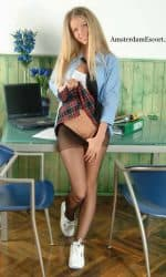 Marketa Standing in Plaid Skirt Schoolgirl Skirt Pulling Down Panty Hose.
