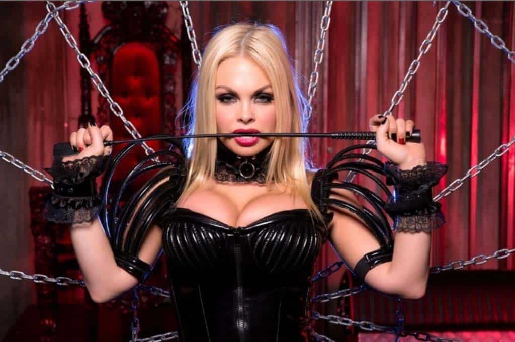 Blonde Dominatrix Holding Whip Behind Chains.